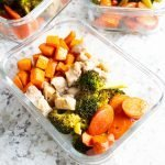 Sheet Pan AIP Winter Meal Prep Bowls in glass containers.