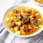 AIP Irish Beef Stew in a white bowl.