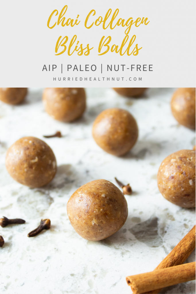 These simple Chai Collagen Bliss Balls are easy to whip up for a tasty fall treat. They're AIP, Paleo, nut-free, and require zero baking! Best of all, they're packed with vital nutrients, protein and fiber for a flavorful treat you can feel good about. #chai #chaispice #chaiblissballs #blissballs #proteinballs #aiptreat #aip